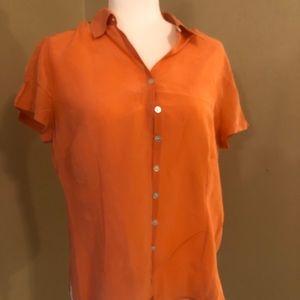 Salmon silk button up blouse